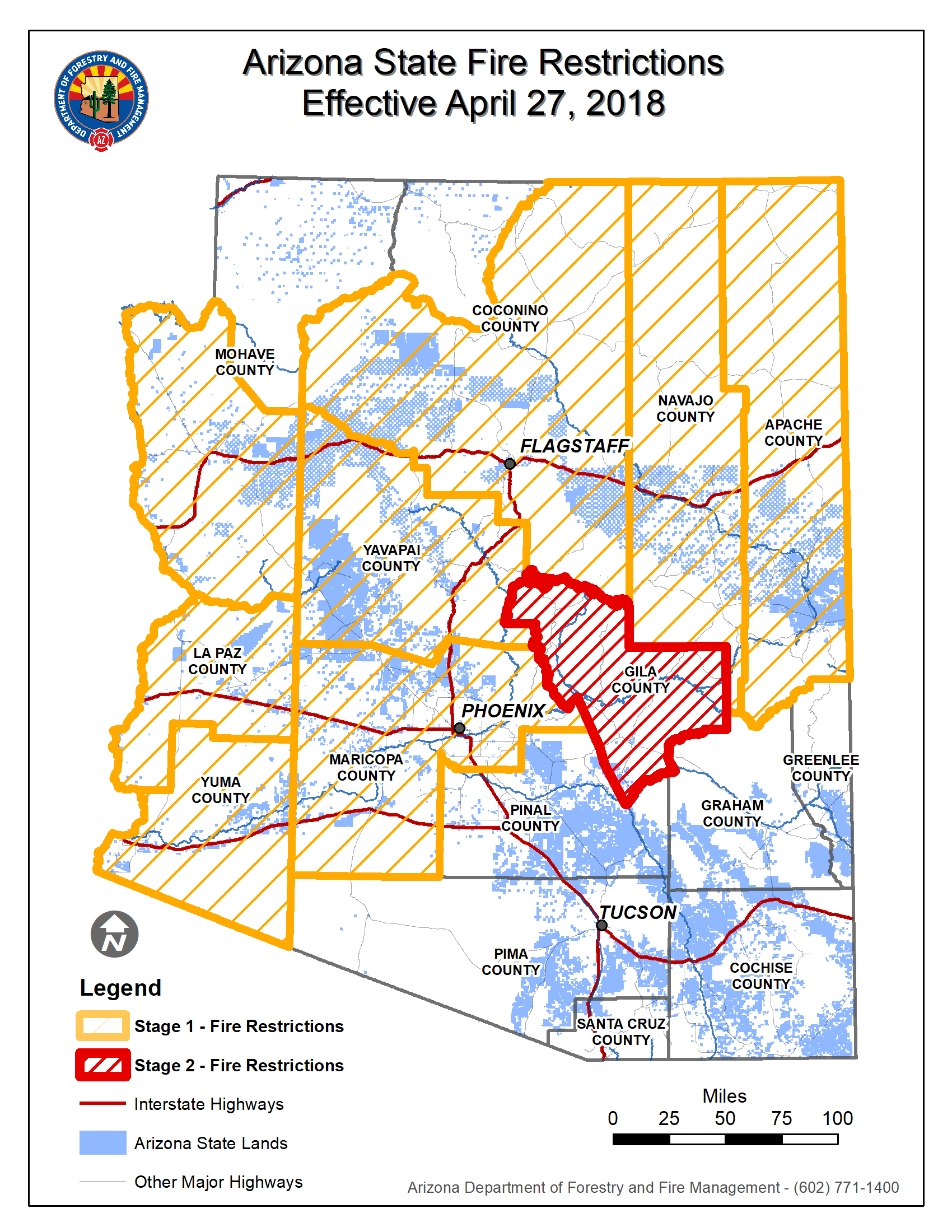 Fire Restrictions Map to Include Coconino County S. of Grand Canyon