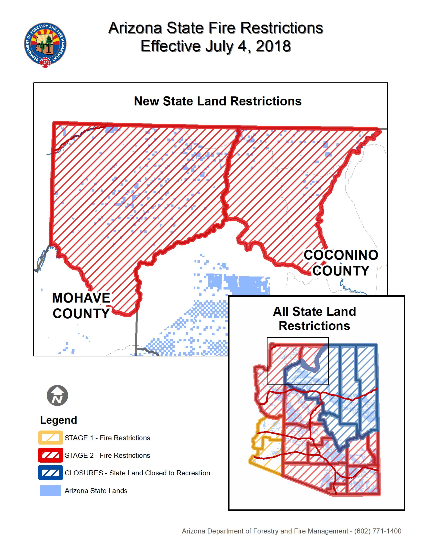 Fire Restrictions Map as of July 4, 2018